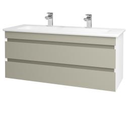 Dreja - Kúpeľňová skriňa MAJESTY SZZ2 120 - L01 Bílá vysoký lesk / L04 Béžová vysoký lesk (175672U)
