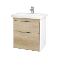 Dreja - Kúpeľňová skriňa ENZO SZZ2 65 - L01 Bílá vysoký lesk / D15 Nebraska (186999)