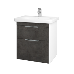 Dreja - Kúpeľňová skriňa ENZO SZZ2 65 - L01 Bílá vysoký lesk / D16 Beton tmavý (187002)