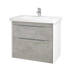 Dreja - Kúpeľňová skriňa ENZO SZZ2 80 - L01 Bílá vysoký lesk / D01 Beton (187057)