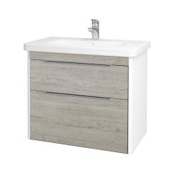 Dreja - Kúpeľňová skriňa ENZO SZZ2 80 - L01 Bílá vysoký lesk / D05 Oregon (187095)