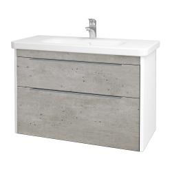 Dreja - Kúpeľňová skriňa ENZO SZZ2 100 - L01 Bílá vysoký lesk / D01 Beton (187286)