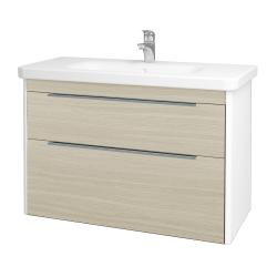 Dreja - Kúpeľňová skriňa ENZO SZZ2 100 - L01 Bílá vysoký lesk / D04 Dub (187316)