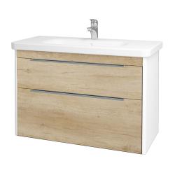 Dreja - Kúpeľňová skriňa ENZO SZZ2 100 - L01 Bílá vysoký lesk / D15 Nebraska (187385)