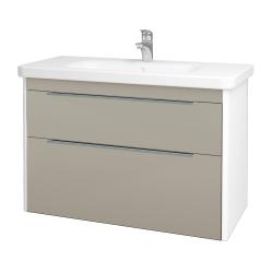 Dreja - Kúpeľňová skriňa ENZO SZZ2 100 - L01 Bílá vysoký lesk / L04 Béžová vysoký lesk (187439)