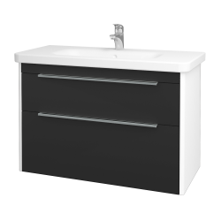 Dreja - Kúpeľňová skriňa ENZO SZZ2 100 - L01 Bílá vysoký lesk / N03 Graphite (187460)