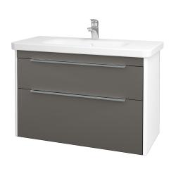 Dreja - Kúpeľňová skriňa ENZO SZZ2 100 - L01 Bílá vysoký lesk / N06 Lava (187477)