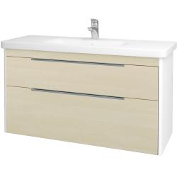 Dreja - Kúpeľňová skriňa ENZO SZZ2 120 - L01 Bílá vysoký lesk / D02 Bříza (187521)