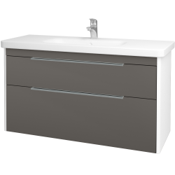 Dreja - Kúpeľňová skriňa ENZO SZZ2 120 - L01 Bílá vysoký lesk / N06 Lava (187705)
