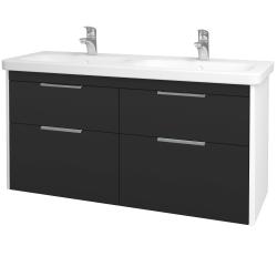 Dreja - Kúpeľňová skriňa ENZO SZZ4 130 - L01 Bílá vysoký lesk / N03 Graphite (187743)