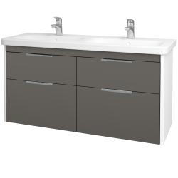 Dreja - Kúpeľňová skriňa ENZO SZZ4 130 - L01 Bílá vysoký lesk / N06 Lava (187750)