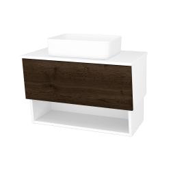 Dreja - Kúpeľňová skriňa INVENCE SZZO 80 (umývadlo Joy) - L01 Bílá vysoký lesk / D21 Tobacco (248680)