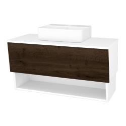 Dreja - Kúpeľňová skriňa INVENCE SZZO 100 (umývadlo Joy 3) - L01 Bílá vysoký lesk / D21 Tobacco (248840)