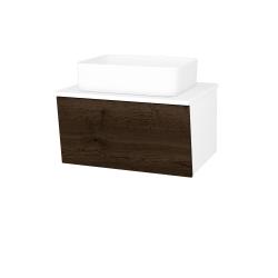 Dreja - Kúpeľňová skriňa INVENCE SZZ 65 (umývadlo Joy) - L01 Bílá vysoký lesk / D21 Tobacco (249205)