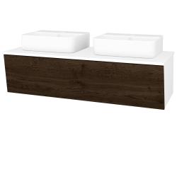 Dreja - Kúpeľňová skriňa INVENCE SZZ 125 (2 umývadlá Joy 3) - L01 Bílá vysoký lesk / D21 Tobacco (249885)