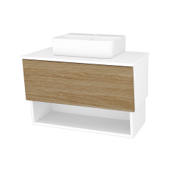 Dreja - Kúpeľňová skriňa INVENCE SZZO 80 (umývadlo Joy 3) - L01 Bílá vysoký lesk / A01 Dub (masiv) (250065)