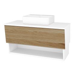 Dreja - Kúpeľňová skriňa INVENCE SZZO 100 (umývadlo Joy 3) - L01 Bílá vysoký lesk / A01 Dub (masiv) (250126)