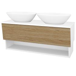 Dreja - Kúpeľňová skriňa INVENCE SZZO 125 (2 umývadlá Triumph) - L01 Bílá vysoký lesk / A01 Dub (masiv) (250225)