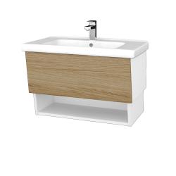 Dreja - Kúpeľňová skriňa INVENCE SZZO 80 (umývadlo Harmonia) - L01 Bílá vysoký lesk / A01 Dub (masiv) (250263)