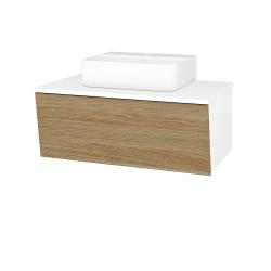 Dreja - Kúpeľňová skriňa INVENCE SZZ 80 (umývadlo Joy 3) - L01 Bílá vysoký lesk / A01 Dub (masiv) (250461)