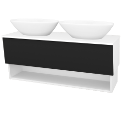 Dreja - Kúpeľňová skriňa INVENCE SZZO 125 (2 umývadlá Triumph) - L01 Bílá vysoký lesk / L03 Antracit vysoký lesk (326722)