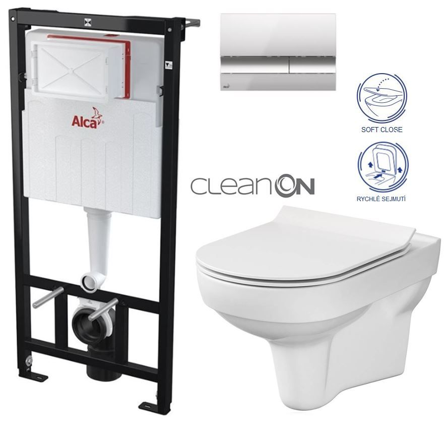 ALCAPLAST Sádromodul - predstenový inštalačný systém s chrómovým tlačidlom M1721 + WC CERSANIT CITY NEW CLEANON + WC SEDENIE SLIM AM101/1120 M1721 CI2