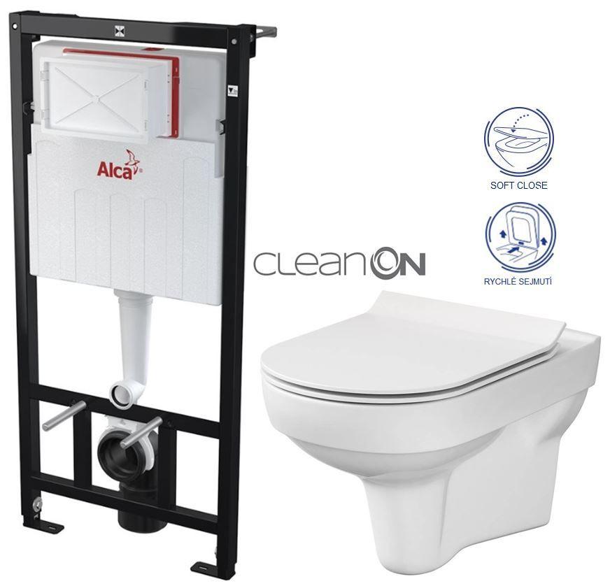 ALCAPLAST Sádromodul - predstenový inštalačný systém bez tlačidla + WC CERSANIT CITY NEW CLEANON + WC SEDENIE SLIM AM101/1120 X CI2