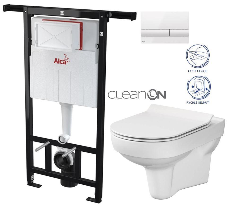 ALCAPLAST Jádromodul - predstenový inštalačný systém s bielym tlačidlom M1710 + WC CERSANIT CITY NEW CLEANON + WC SEDENIE SLIM AM102/1120 M1710 CI2
