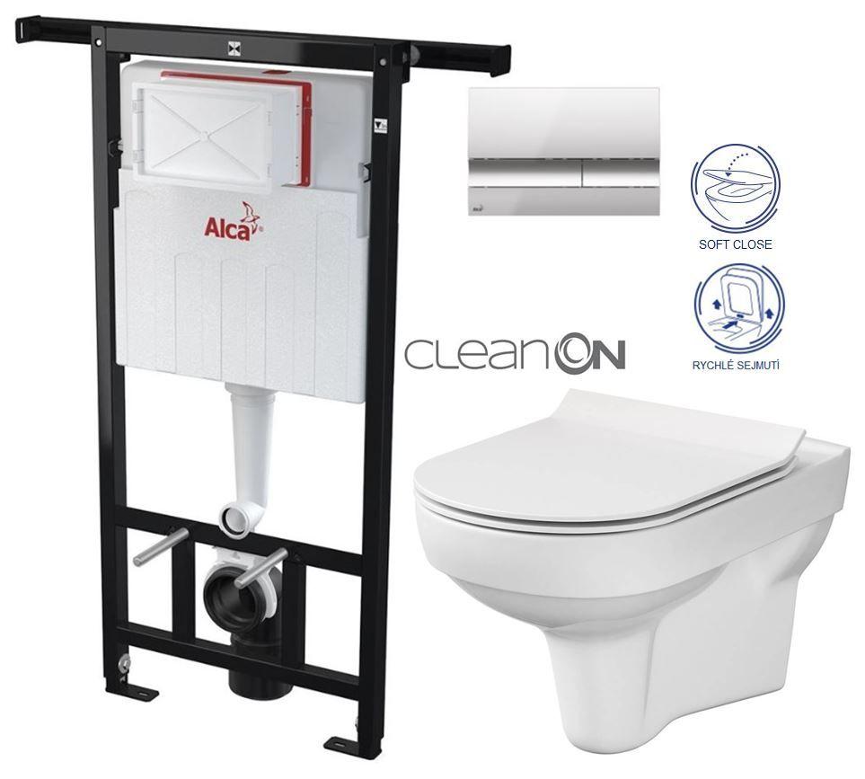 ALCAPLAST Jádromodul - predstenový inštalačný systém s chrómovým tlačidlom M1721 + WC CERSANIT CITY NEW CLEANON + WC SEDENIE SLIM AM102/1120 M1721 CI2