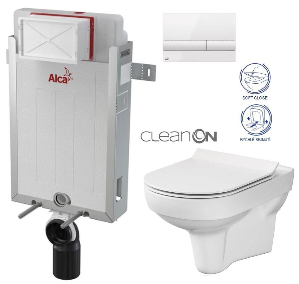 ALCAPLAST Renovmodul - predstenový inštalačný systém s bielym tlačidlom M1710 + WC CERSANIT CITY NEW CLEANON + WC SEDENIE SLIM AM115/1000 M1710 CI2