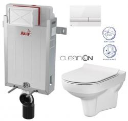 ALCAPLAST  Renovmodul - predstenový inštalačný systém s bielym tlačidlom M1710 + WC CERSANIT CITY NEW CLEANON + WC SEDENIE SLIM (AM115/1000 M1710 CI2)
