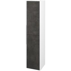 Dreja - Skriňa vysoká ENZO SVD2 35 - L01 Bílá vysoký lesk / D16 Beton tmavý / Pravé (188146P)