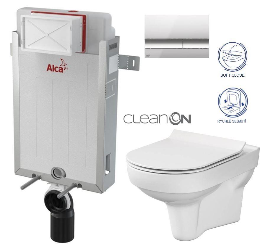 ALCAPLAST Renovmodul - predstenový inštalačný systém s chrómovým tlačidlom M1721 + WC CERSANIT CITY NEW CLEANON + WC SEDENIE SLIM AM115/1000 M1721 CI2