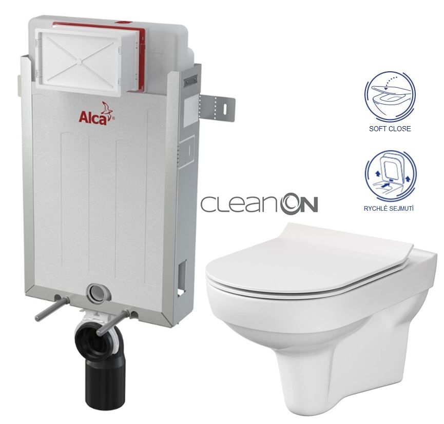 ALCAPLAST Renovmodul - predstenový inštalačný systém bez tlačidla + WC CERSANIT CITY NEW CLEANON + WC SEDENIE SLIM AM115/1000 X CI2