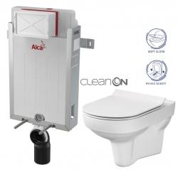 ALCAPLAST  Renovmodul - predstenový inštalačný systém bez tlačidla + WC CERSANIT CITY NEW CLEANON + WC SEDENIE SLIM (AM115/1000 X CI2)