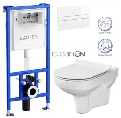 LAUFEN Rámový podomietkový modul CW1 SET s bielym tlačidlom + WC CERSANIT CITY NEW CLEANON + WC SEDENIE SLIM (H8946600000001BI CI2)