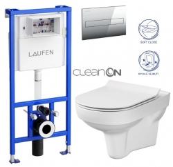 LAUFEN Rámový podomietkový modul CW1 SET s chrómovým tlačidlom + WC CERSANIT CITY NEW CLEANON + WC SEDENIE SLIM (H8946600000001CR CI2)