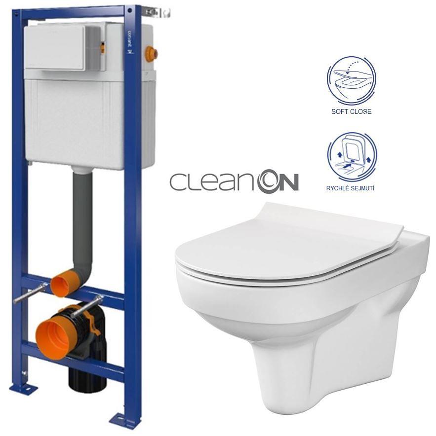 CERSANIT nádržka AQUA 02 bez tlačidla + WC CERSANIT CITY NEW CLEANON + WC SEDENIE SLIM S97-063 CI2