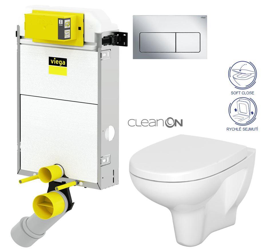 VIEGA Presvista modul PURE pro WC včetně tlačítka Life5 CHROM + WC CERSANIT ARTECO CLEANON + SEDÁTKO (V771928 LIFE5CR AT1)