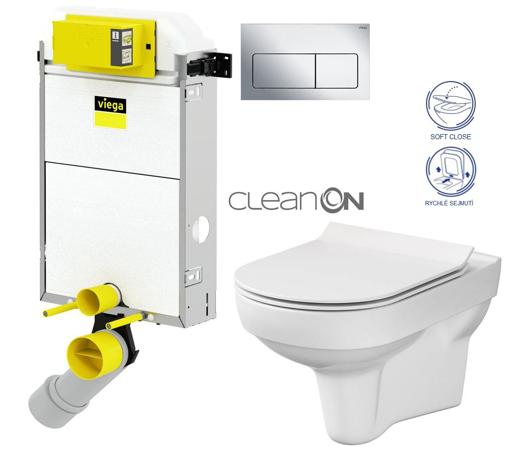 VIEGA Presvista modul PURE pre WC vrátane tlačidla Life5 CHROM + WC CERSANIT CITY NEW CLEANON + WC SEDENIE SLIM V771928 LIFE5CR CI2