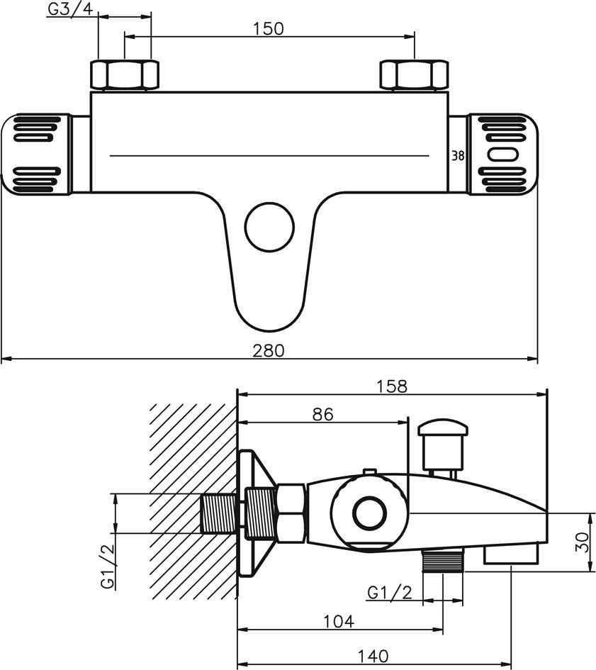NOVASERVIS - Vaňová batéria termostatická bez príslušenstva 150 mm (2620/1,0 II.)