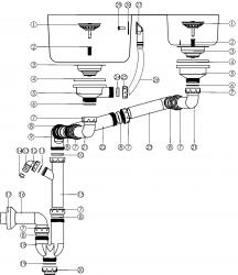 NOVASERVIS - Sifon drezový otvor 89mm prepadu z drezu plast (NSP620), fotografie 4/2