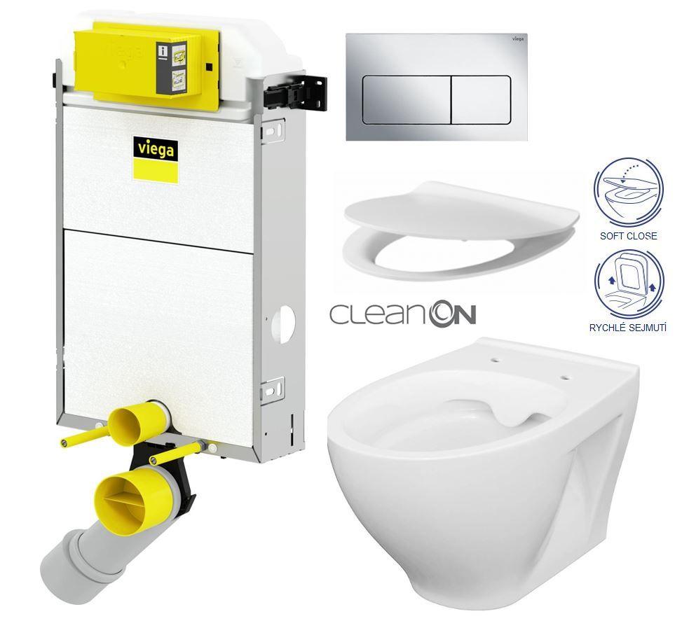VIEGA Presvista modul PURE pre WC vrátane tlačidla Life5 CHROM + WC CERSANIT CLEANON MODUO + SEDADLO V771928 LIFE5CR MO1