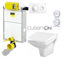 VIEGA Presvista modul PURE pre WC vrátane tlačidla Style 20 bielej + WC CERSANIT CLEANON CARINA + SEDADLO (V771928 STYLE20BI CA2)