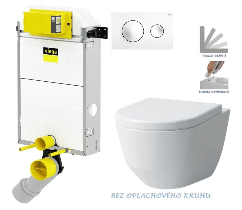 VIEGA Presvista modul PURE pre WC vrátane tlačidla Style 20 bielej + WC LAUFEN PRO RIMLESS + SEDADLO V771928 STYLE20BI LP1