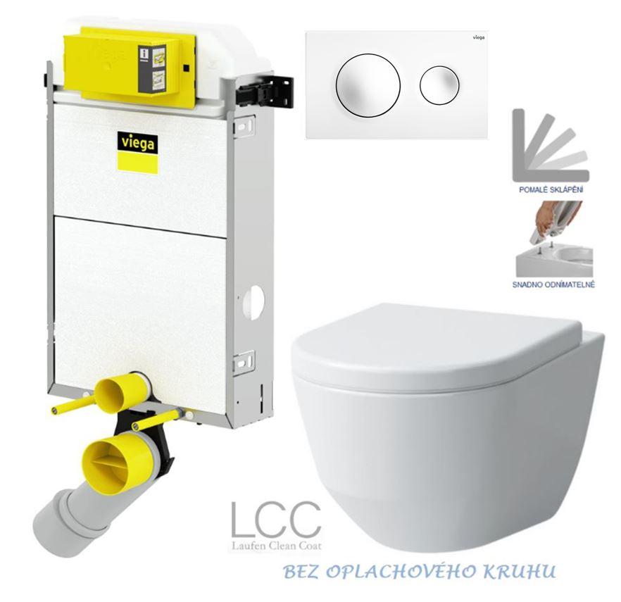 VIEGA Presvista modul PURE pro WC včetně tlačítka Style 20 bílé + WC LAUFEN PRO LCC RIMLESS + SEDÁTKO (V771928 STYLE20BI LP2)