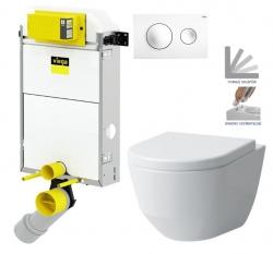 VIEGA Presvista modul PURE pre WC vrátane tlačidla Style 20 bielej + WC LAUFEN PRO + SEDADLO (V771928 STYLE20BI LP3)