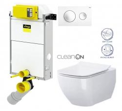 VIEGA Presvista modul PURE pre WC vrátane tlačidla Style 20 bielej + WC OPOCZNO CLEANON METROPOLITAN + SEDADLO (V771928 STYLE20BI ME1)
