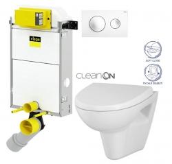 VIEGA Presvista modul PURE pre WC vrátane tlačidla Style 20 bielej + WC CERSANIT CLEANON PARVA + SEDADLO (V771928 STYLE20BI PA1)