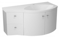 SAPHO - AILA umývadlová skrinka 110x39cm, biela/strieborná, zásuvky vľavo vč.umyvadla Isobel 55601 (55621-SET)
